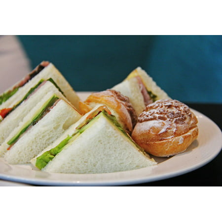 Canvas Print Bread Puff High Tea Cream Sandwiches Ham Tomato Stretched Canvas 10 x (Best Bread For Tea Sandwiches)