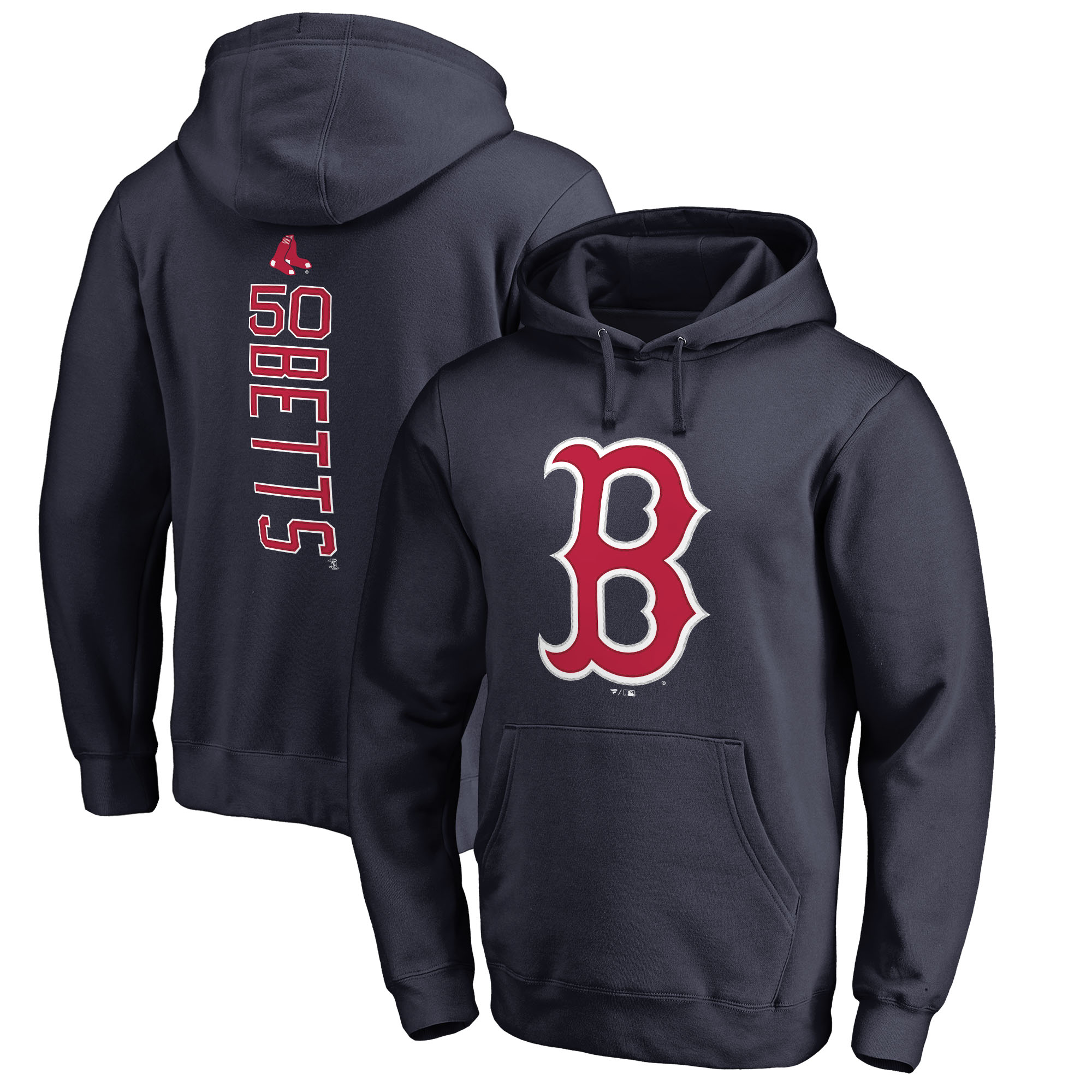 Mookie Betts Boston Red Sox Fanatics Branded Backer Pullover Hoodie - Navy