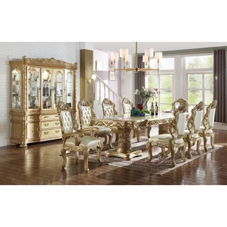 Meridian 703 Bennito Dining Room Set 9pcs in Rich Gold Hand ...