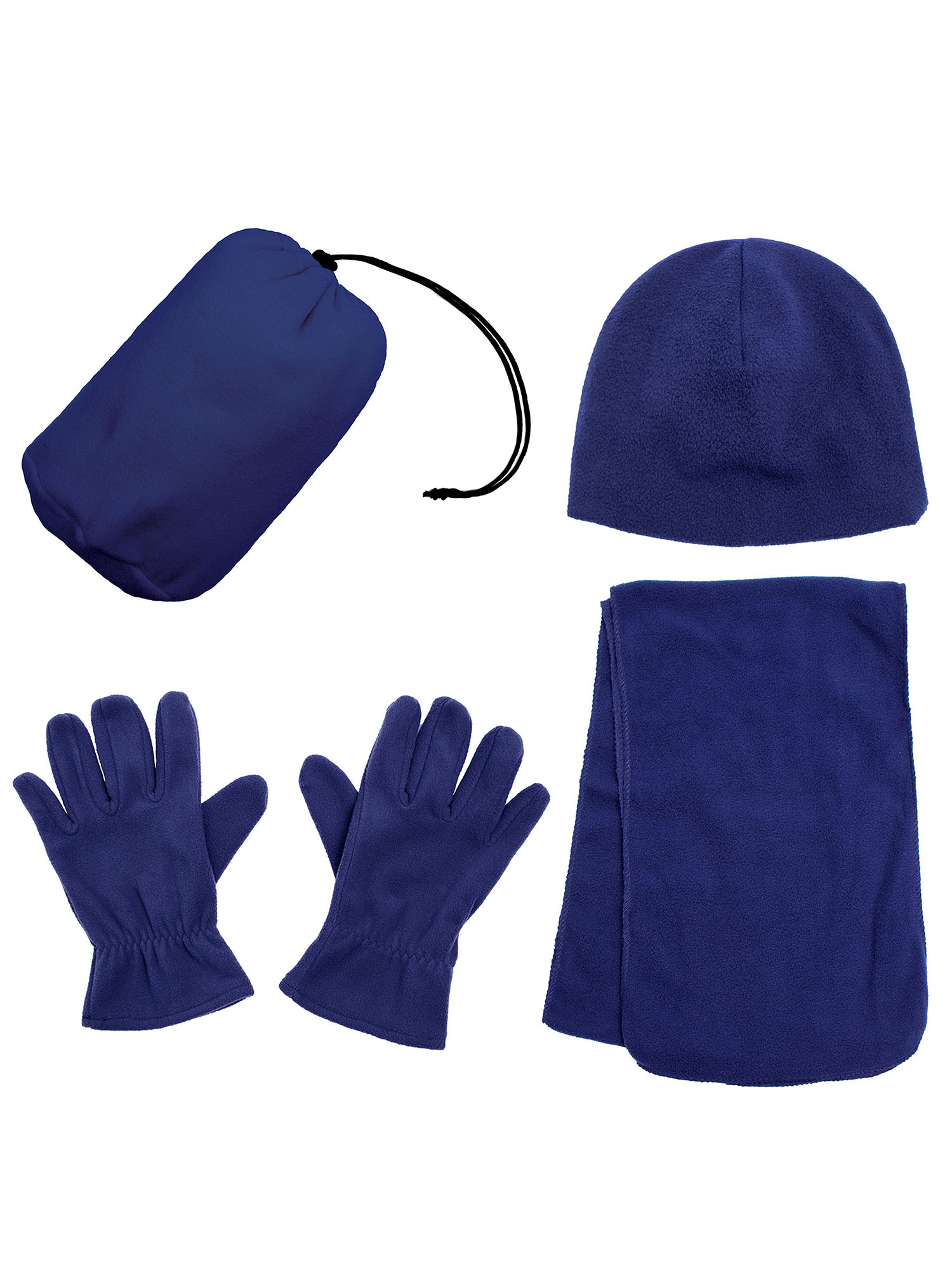 Men and Women's Beanie Hat Gloves and Scarf Fleece Winter Set
