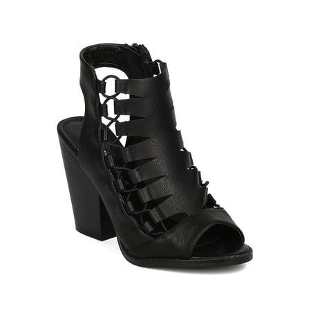568b4303d5d Nature Breeze - Women Leatherette Peep Toe Caged Chunky Heel Sandal GG99 -  Walmart.com