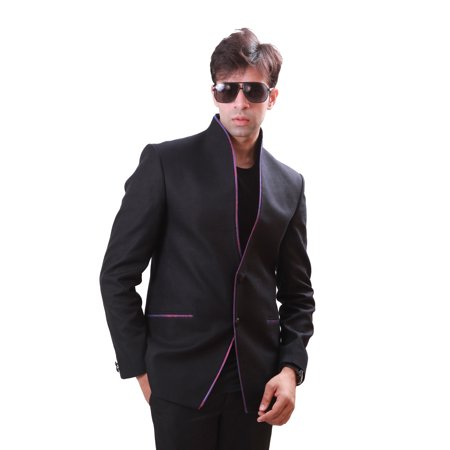 High Neck Classy Black Blazer for Men. This product is custom made to order. - image 2 de 3