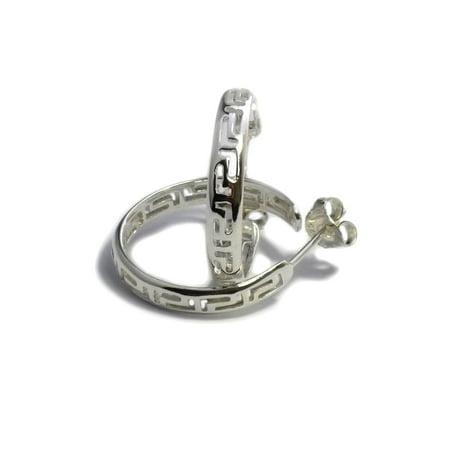 Sterling Silver Rhodium Plated Ancient Greek Key Hoop Earrings, Diameter  22mm