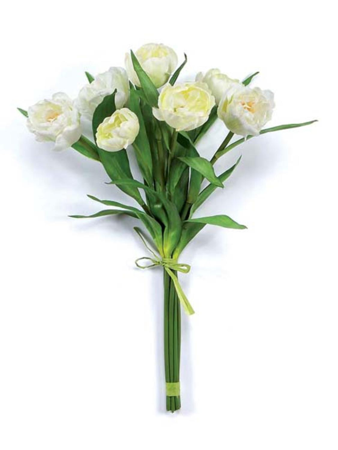 Floral Blossom Artificial Real Touch Silk Cream Tulip Flower Bouquet