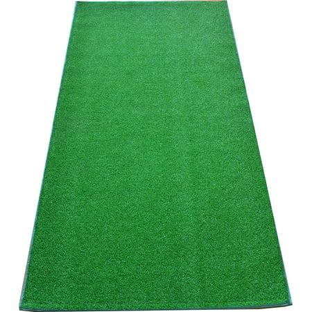 Dean Premium Heavy Duty Indoor/Outdoor Green Artificial Grass Turf Carpet Runner Rug/Putting Green/Dog Mat, Size: 3' x 6' with Bound - Green Grass Mats