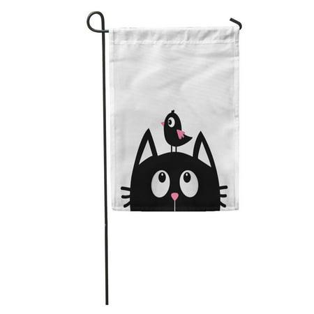 LADDKE Black Cat Face Head Silhouette Looking Up to Bird Cute Garden Flag Decorative Flag House Banner 12x18 inch](Birds Silhouette)