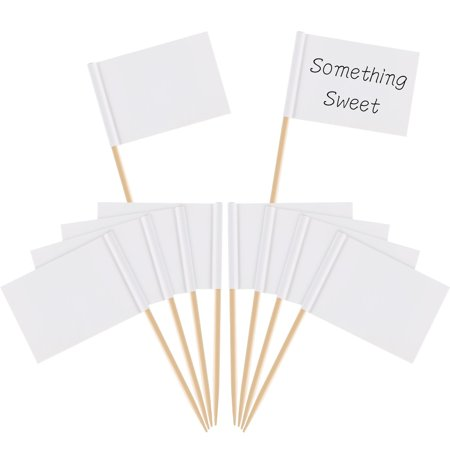 Cheese Appetizer (Pangda 100 Pieces Blank Toothpick Flags Cheese Markers White Flags Labeling Marking for Party Cake Food Cheeseplate Appetizers (White))