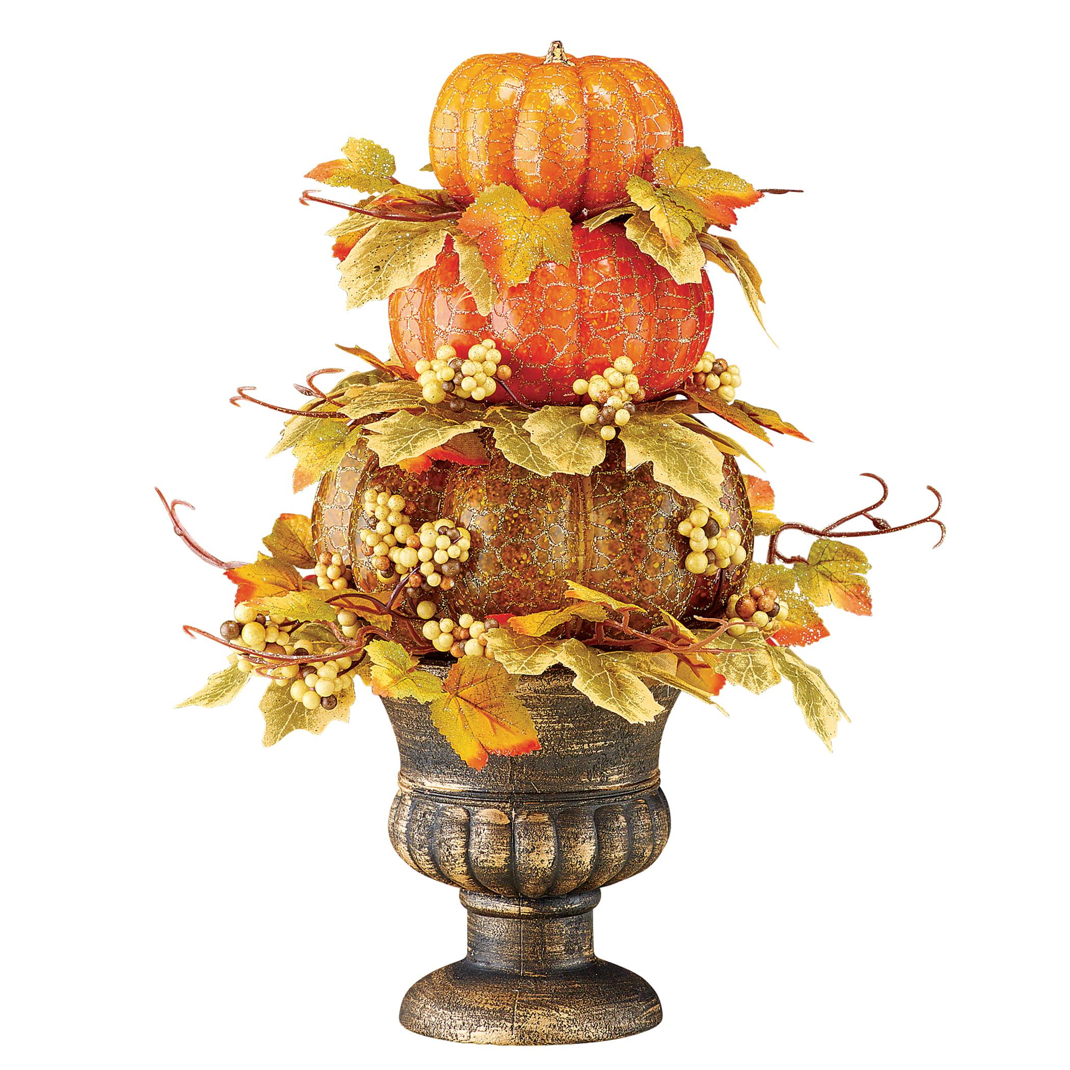 Sparkling Fall Pumpkins And Berries Tabletop Topiary Antiqued Bronze Colored Pedestal Plastic Styrofoam Walmart Com Walmart Com