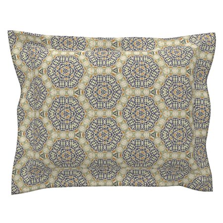- Moroccan Tiles Medallions Mexican Art Hex Circle Navy Pillow Sham by Roostery