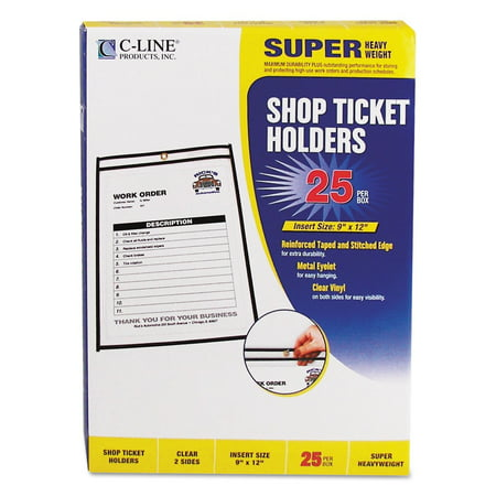 Work Order Holders (Shop Ticket Holders, Stitched, Both Sides Clear, 75 inch, 9 x 12, 25/BX, Store and protect work orders, production schedules, inventory cards and more in these stitched.., By C-Line)