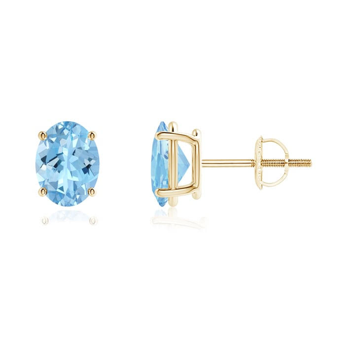 Angara Solitaire Aquamarine Earrings in White Gold eUoB4j