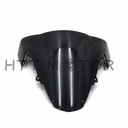 HTTMT- BLACK DOUBLE BUBBLE TRANSPARENT WINDSCREEN SHIELD FOR 2003-2004 SUZUKI GSXR1000