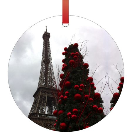 Eiffel Tower on Christmas - Christmas Tree Round Shaped Flat Aluminum Semigloss Christmas Ornament Tree Decoration - Walmart.com