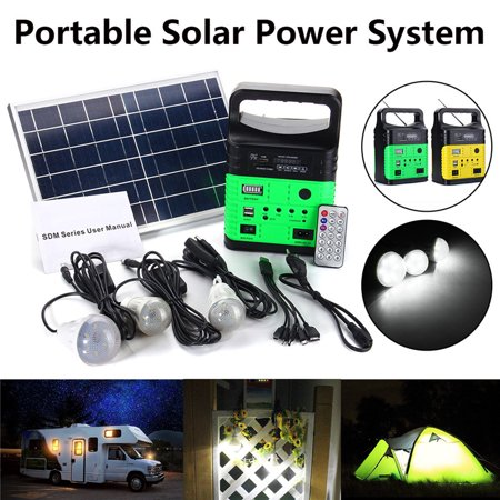Light Flash System (Solar Pannel Portable Generator System Kit USB Flashlight 3 LED Bulbs Remote)