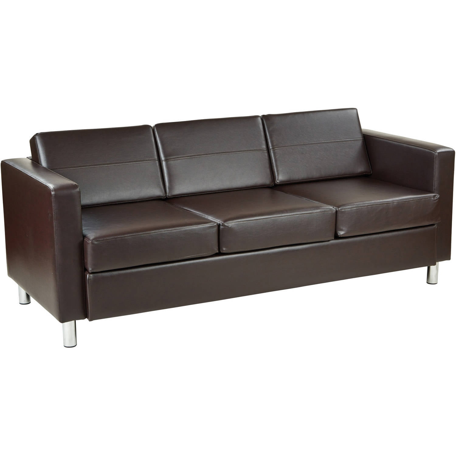 Ave Six Pacific Easy-Care Espresso Faux Leather Sofa Couch with Box Spring Seats and Silver Color Legs by Office Star