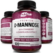 NutriFlair D Mannose 1200mg, 120 Capsules - with Cranberry and Dandelion Extract - Natural Urinary Tract Health, UTI Support - Best DMannose Powder - Flush Impurities, Detox Body, for Women and Men