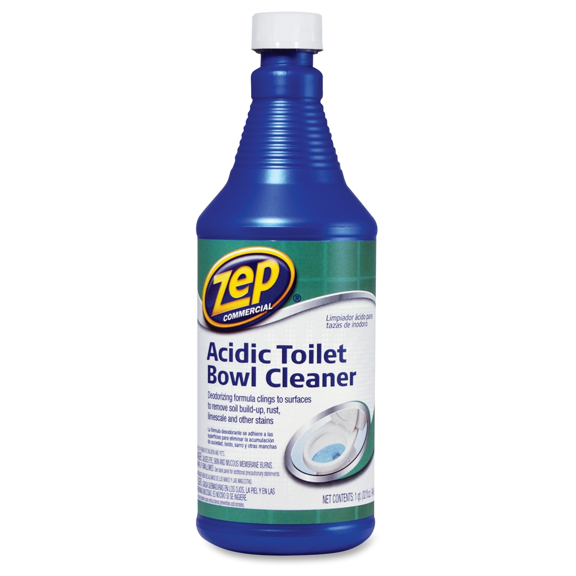 Zep Commercial Acidic Toilet Bowl Cleaner - 0.25 Gal [32 Fl Oz] - Fresh Minty Pine Scent - 12 / Carton - Blue (zuatb32ct)