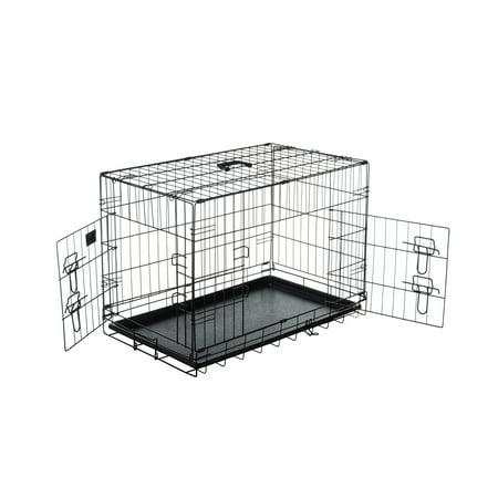 Pet Trex 30 Inch Folding Pet Crate, 2 Door Animal Kennel, 30