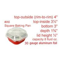 """4"""" Square Colored Aluminum Foil Dessert Pan w/ Lids Case of 1000- #A6P"""