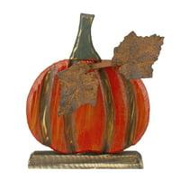 """8"""" Orange Carved Wood Fall Harvest Pumpkin Decoration"""