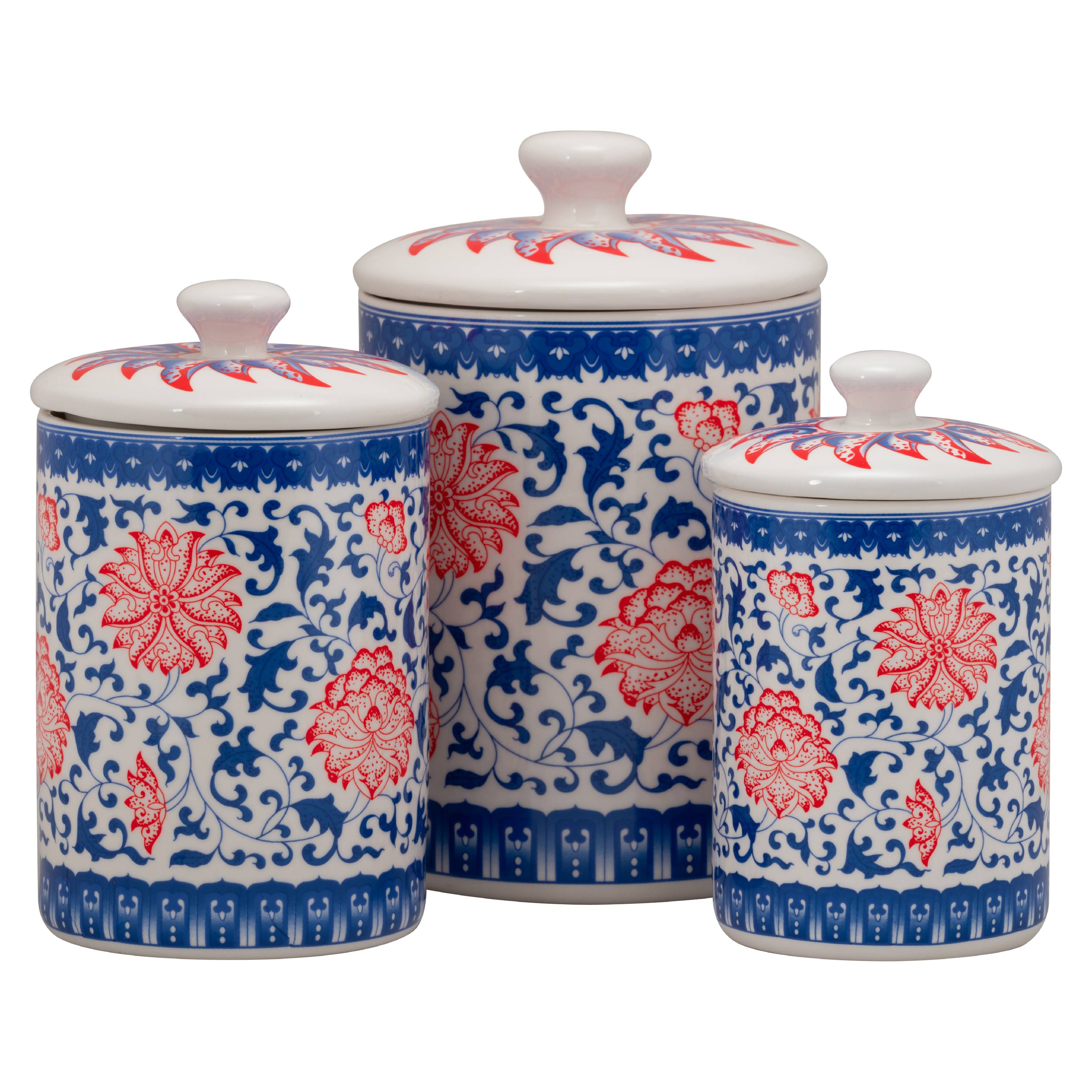 10 Strawberry Street Chinoiserie 3 Piece Porcelain Canister Set, Red/Blue