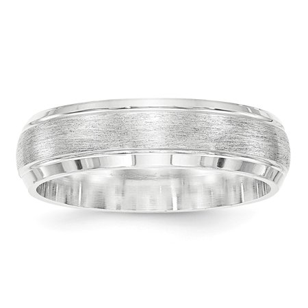 Roy Rose Jewelry Sterling Silver 6mm Brushed Fancy Wedding Band Ring Size 7.5 (Jewelry Silver Bands)
