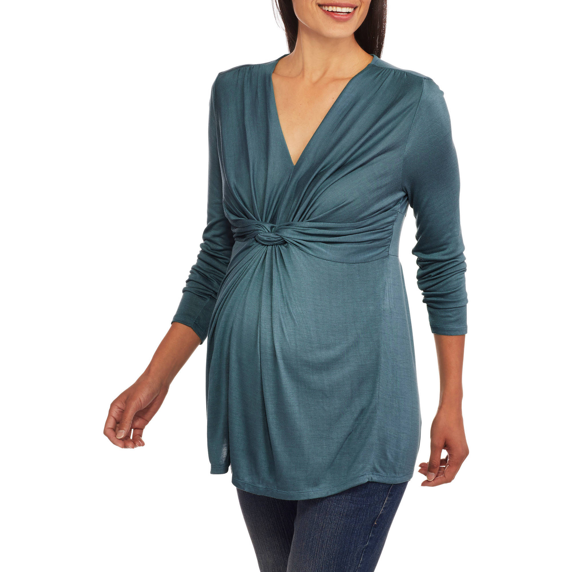 Maternity Long Sleeve Knot Front Top--Perfect for Nursing