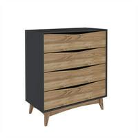 "Modern Rustic 4-Drawer Hamilton 35.03"" Wide Dresser in Dark Grey and Wood"