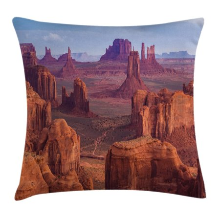 House Decor Throw Pillow Cushion Cover, View of Deep Canyon with Different Scaled Length Red Rocks Discovery Art Theme, Decorative Square Accent Pillow Case, 18 X 18 Inches, Brown Blue, -