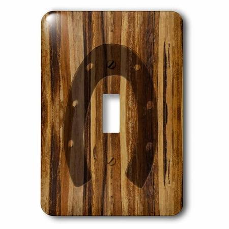 3dRose Branded Wood Print Horseshoe - Single Toggle Switch - Horseshoe Toggle