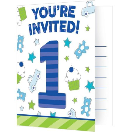 Doodle 1st Birthday Invitation Foldover W/ Attachment, 8 ct