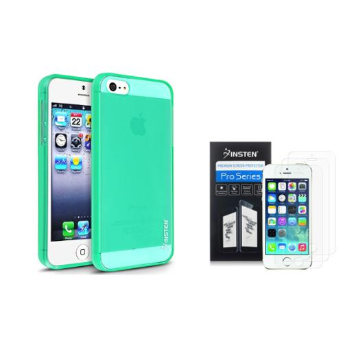 Insten Clear Neon Green TPU Case+2x Anti-Glare Screen Protector For iPhone SE 5S 5 5th G
