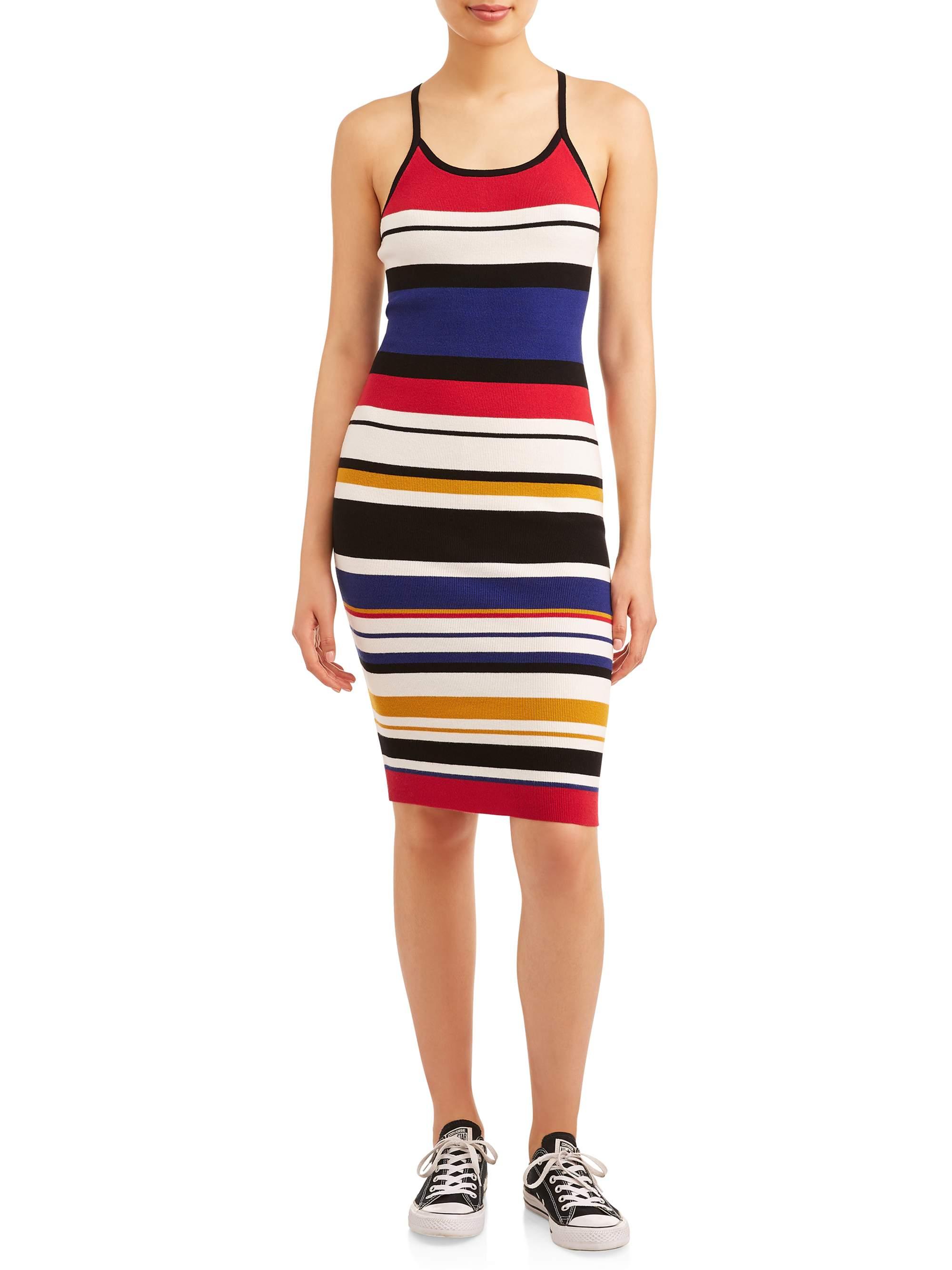 Juniors Striped Knit Midi Dress