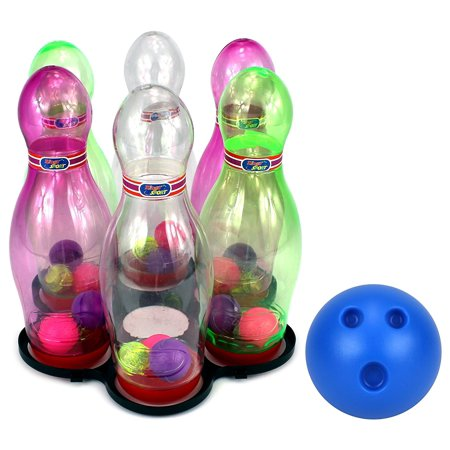 VT See Through Light Up Children's Toy Bowling Playset w/ 6 Pins, Bowling Ball (Bowling Toy)