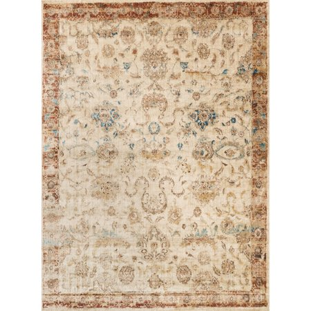 Alexander Home Traditional Antique Ivory/ Rust Floral Distressed Rug - 2'7