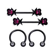 """Body Candy 4Pc 14G Nipplerings Piercing Black Steel Heart Clear Accent Horseshoe Nipple Ring 5/16"""" 1/2"""""""