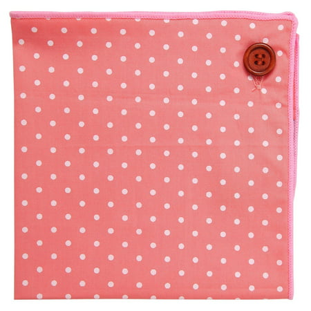 Pinks Denver (Pocket Square 100% Cotton, Pink Polka Dot, Button Collection by Puentes)