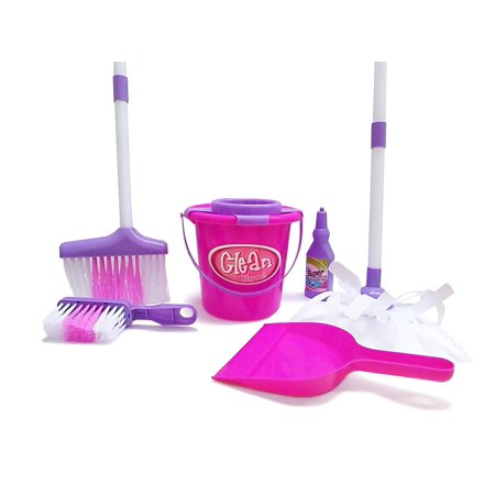 Dazzling Toys Little Girls Just Like Mom Cleaning Set. Set Includes Broom, Dust Brush, Pail and More (Girl Dancing With Broom)