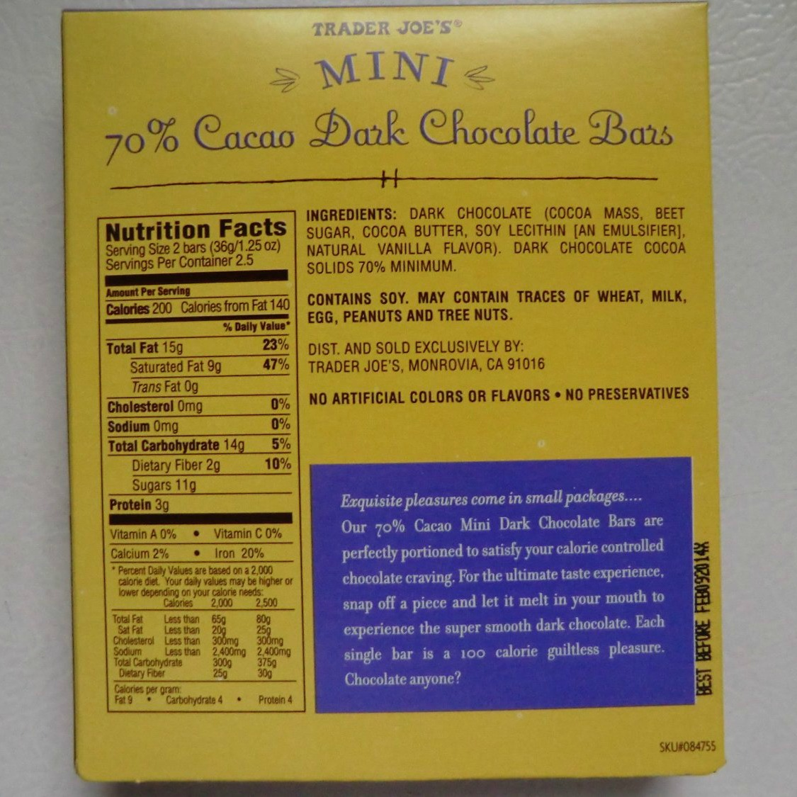 Trader Joes Mini 70 Cacao Dark Chocolate Bars