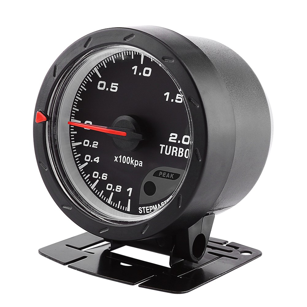 Car Boost Gauge Universal 60mm LED Turbo Boost Meter Gauge Black Shell For Auto Racing Car 0-200 Kpa