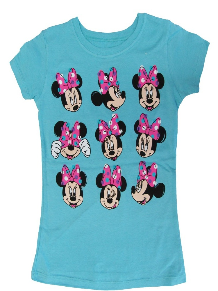 Disney Girls Sky Blue Minnie Mouse Cute Faces Graphic Print T-Shirt