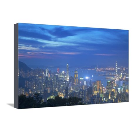 View of Hong Kong from Jardine's Lookout at Sunset, Hong Kong, China, Asia Stretched Canvas Print Wall Art By Ian Trower