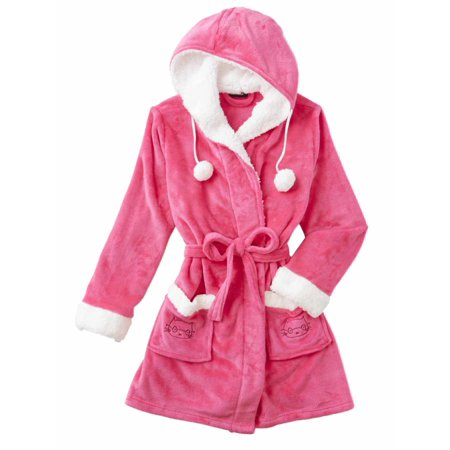Joe Boxer - Womens Plush Pink Hooded Bathrobe Kitty Cat Robe Housecoat  Large - Walmart.com b2b445ae9