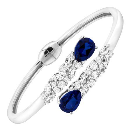 Bypass Cuff (8 1/10 ct Blue & White Created Sapphire Bypass Cuff Bracelet in Sterling)
