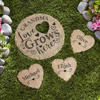 Personalized Love Grows Here Round Garden Stone