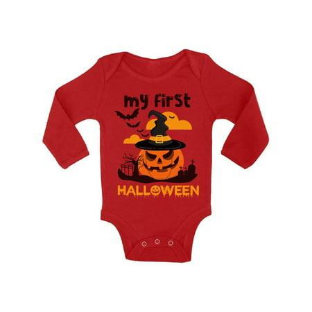 Baby's 1st Halloween Pumpkin Carving (Awkward Styles Pumpkin Bodysuit My First Halloween Baby)