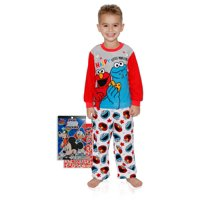 Sesame Street Boys Elmo and Cookie Monster Pajama Set with Mickey Stickers, Sesame Street, Size: 3T