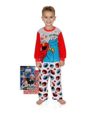Sesame Street Boys Elmo and Cookie Monster Pajama Set with Mickey Stickers, Sesame Street, Size: 3T