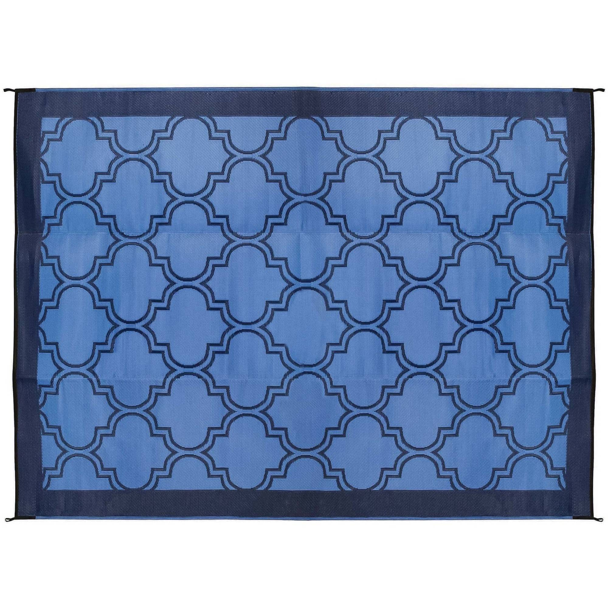 Camco 42856 Reversible Outdoor Mat, 9' x 12', Lattice Blue Design