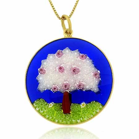 Murano glass Round Pendant w Tree Design